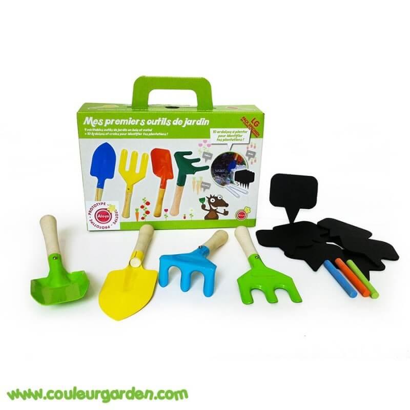 set petits outils de jardinage 4 outils 7 ardoises 3 craies
