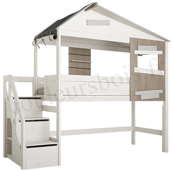un lit cabane mi hauteur ecologique accessible par un escalier