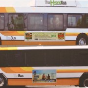 bill, 69, bus, exterior, advertising, side, honolulu, city
