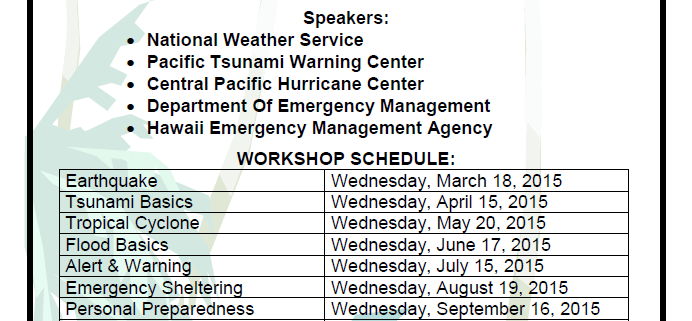 Free Disaster Preparedness Workshops every 3rd Wednesday of