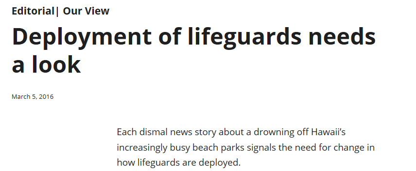 Deployment of lifeguards