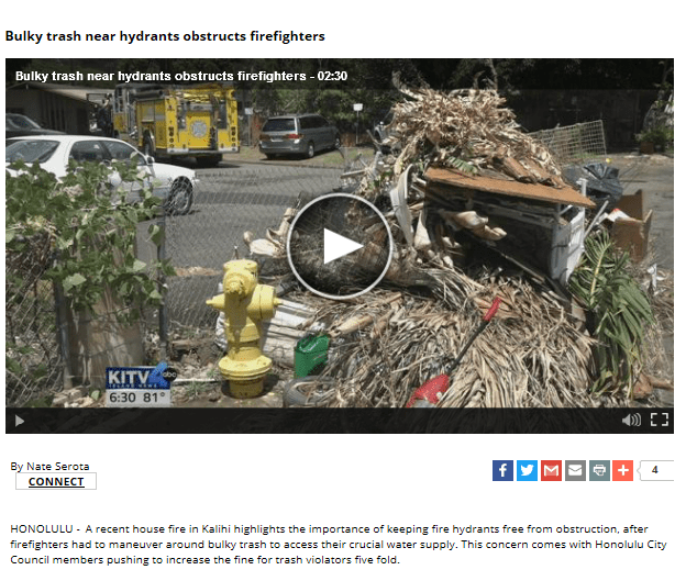 Bulky Trash near hydrants obstructs firefighters