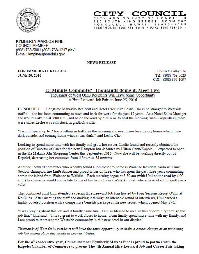 Councilmember Kymberly Marcos Pine News Release for the Hire