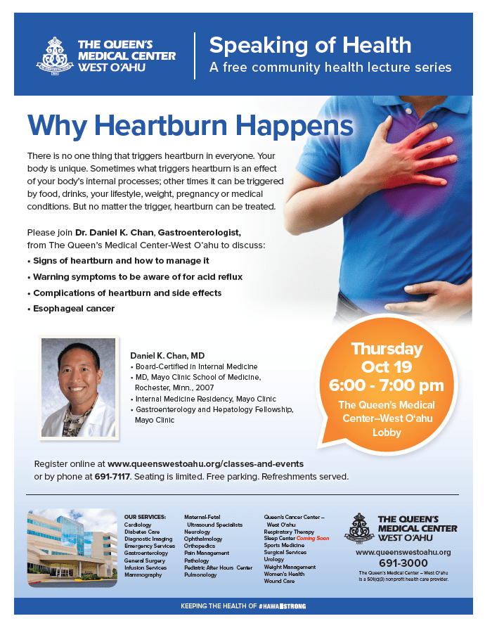 Queen's West Oahu: Why Heart Burn Happens (Free Community