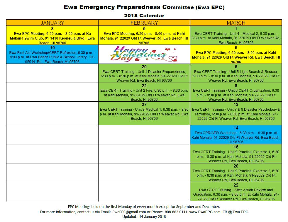 Ewa Emergency Preparedness Committee Calendar 2018