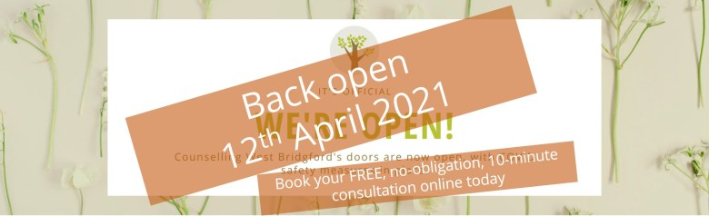 Counselling West Bridgford taking Covid Secure in person appointments from April 12th 2021