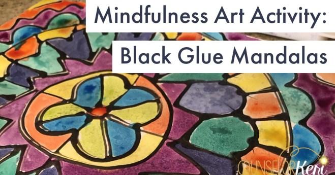 Mindfulness Art Activity Black Glue Mandala Painting