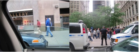 Two undercover police who just stepped out of a police van (left) and the officer in blue entering Zuccotti Park (right). Photos by Margaret Flowers.