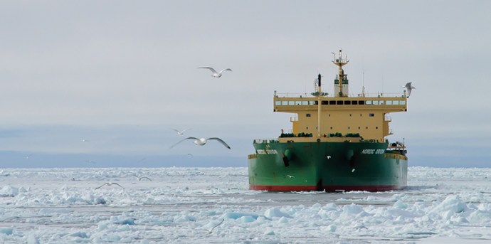 The Nordic Orion cargo ship carries a shipment of coal through the Arctic.