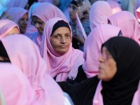 Cancer patients take part in a rally to raise awareness about Breast Cancer in Gaza City on 26 October. Mohammed Asad APA images