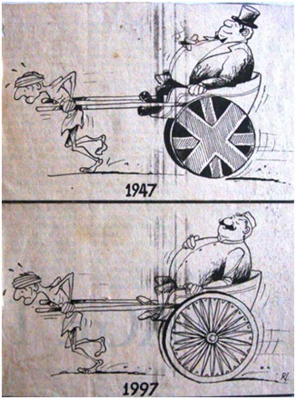 An over 12-year-old cartoon that featured in the national media to mark 50 years of India's independence: the situation is as grim