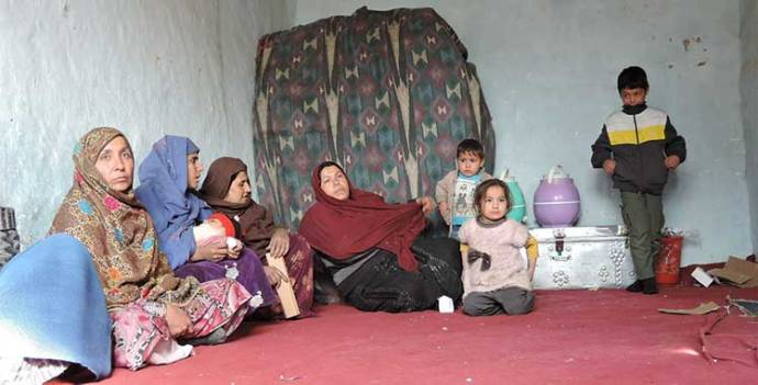 Mothers and children inside a Kabul refugee camp... Photo credit: Henrietta Cullinan