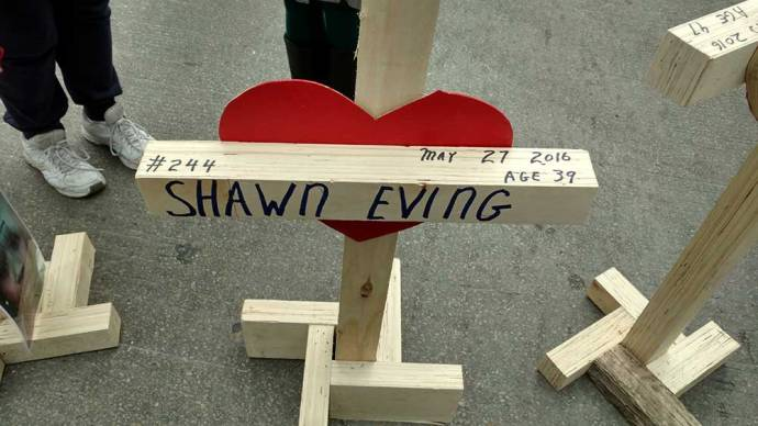 One of more than 750 crosses carried in a Chicago rally commemorating homicide victims on New Years Eve/ Photo By Ed Juillard