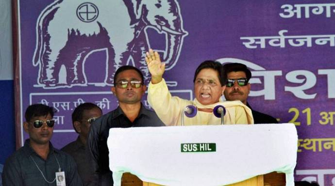 Agra: Bahujan Samaj Party chief Mayawati addressing the crowd during a mega rally in Agra on Sunday. PTI Photo (PTI8_21_2016_000111A) *** Local Caption ***