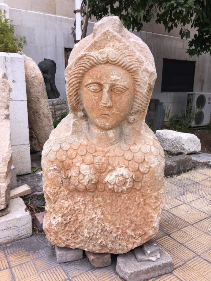 One of the artifacts on the grounds of the National Museum in Damascus