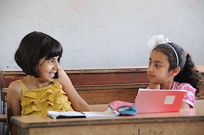 Palestinian girls in school in Damascus