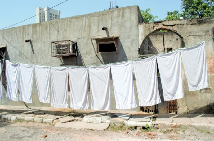 Clothes left to dry in the sun.