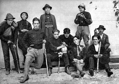 "Italian Blackshirts in the early 1920s. There is a Fascist song from those times that says (translated), ""Fascists and Communists were playing cards. The Fascists won with the ace of clubs.""  But the clubs used by the Fascists were only a marginal elements in a struggle that had as a fundamental factor the supply of energy to the Italian economy."