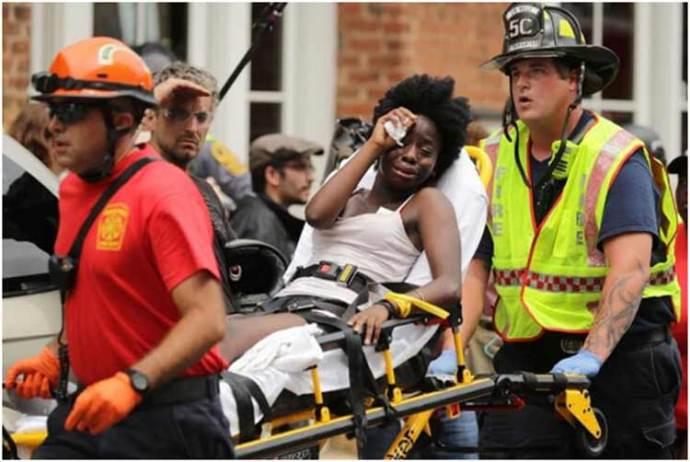 Evacuating one of the Charlotteville, VA car crash victims