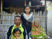 Ashraf Ali along with his daughters an octogenarian mother at his residence in 1 No. Sonjauli village of Dimakuchi in Udalguri of Assam on Thursday.