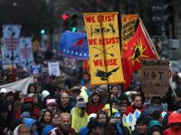 WASHINGTON, DC - MARCH 10:  Protesters march during a demonstration against the Dakota Access Pipeline on March 10, 2017 in Washington, DC.  Thousands of protesters and members of Native nations marched in Washington DC to oppose the construction of the proposed 1,172 Dakota Access Pipeline that runs within a half-mile of the Standing Rock Sioux reservation in North Dakota.  (Photo by Justin Sullivan/Getty Images)
