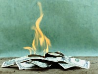 AMERICAN DOLLAR BILLS BURNING
