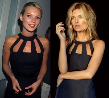 Kate Moss in 1998 (l) and in a KM