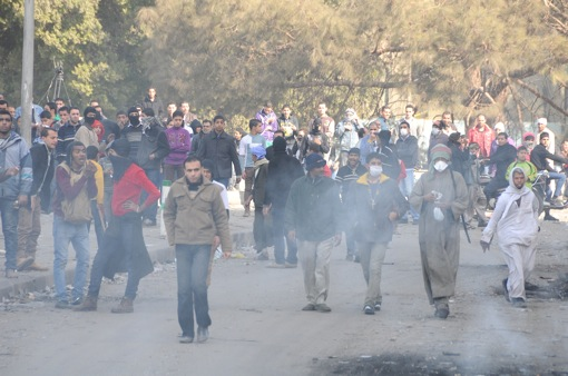 Advancing through tear gas.