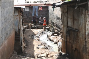 Gangway in Kariobangi slum in Nairobi.