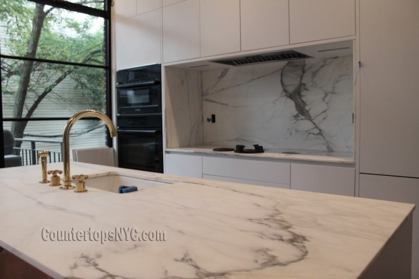 Calacatta gold marble kitchen countertops NYC