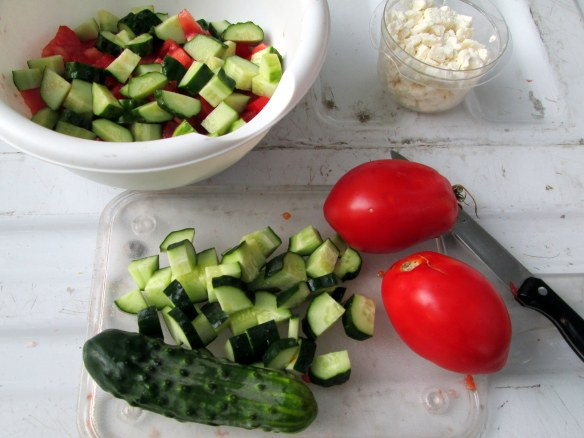 Camping cuisine: Cucumber and tomato salad