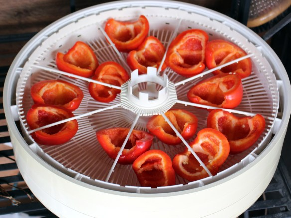 Dehydrating paprika peppers