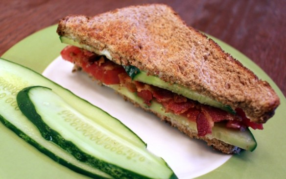 Used sliced cucumbers in a BCT sandwich