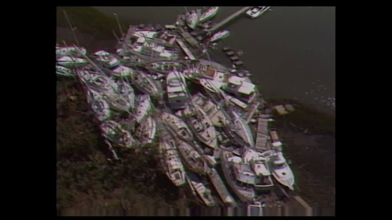 Dozens of boats pile ashore during Hurricane Hugo