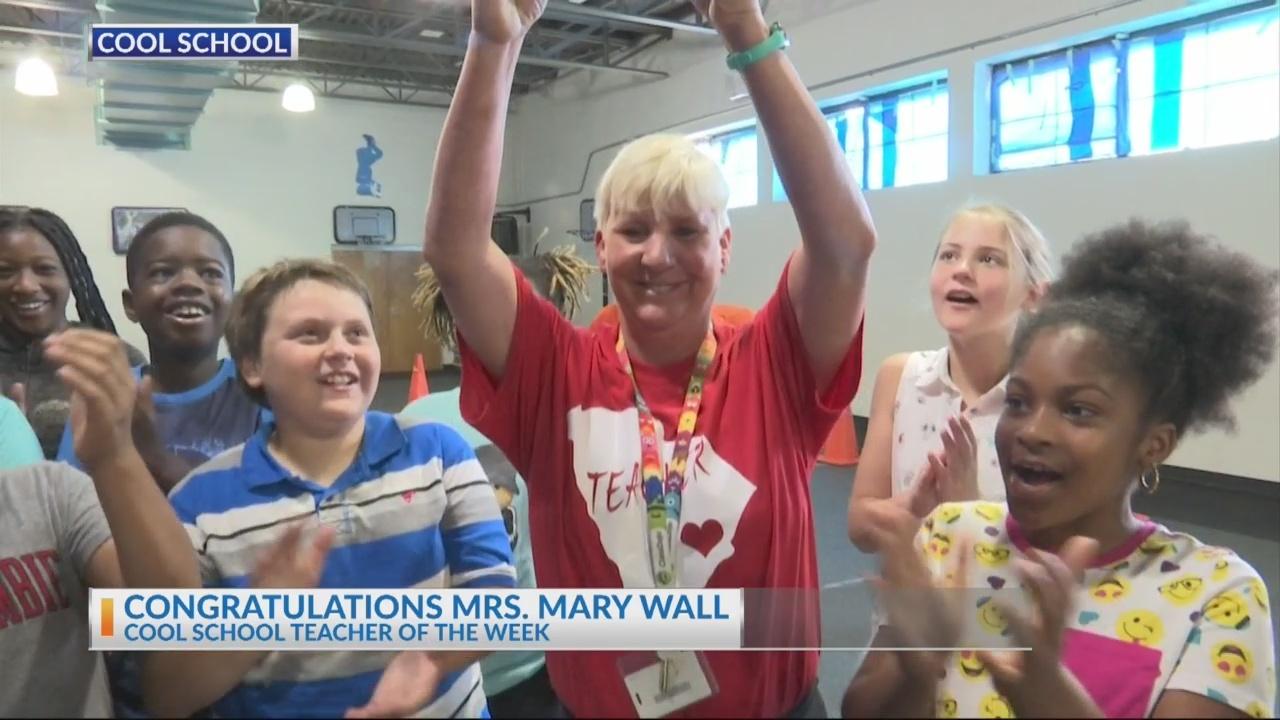Maryville Elementary teacher Mrs. Mary Wall receives the News 2 Cool School Teacher award