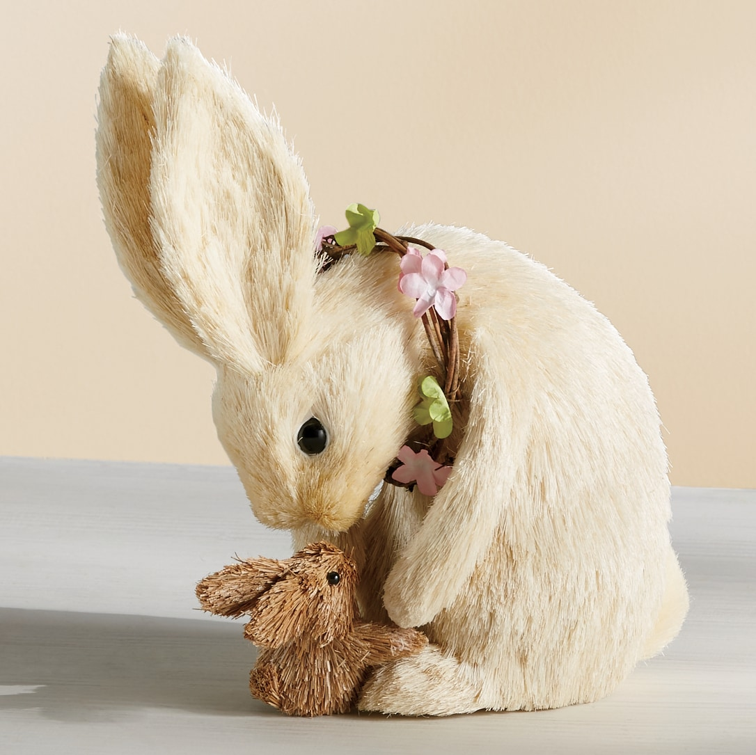 Sisal Bunny With Baby Bunny Country Door