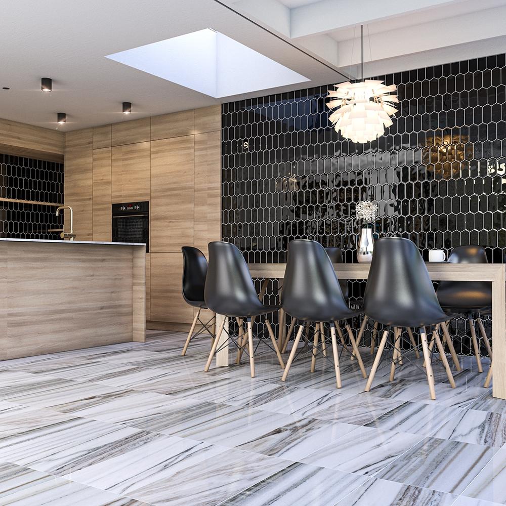 black glossy picket ceramic tiles 3x6