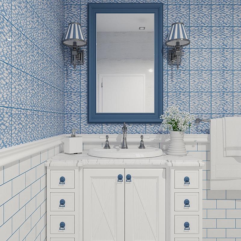 soft sea blue glossy fishnet galore ceramic tiles 6x6