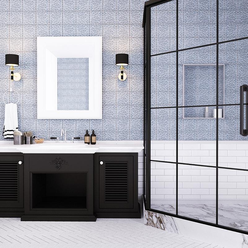 slate grey glossy layered coral ceramic tiles 6x6