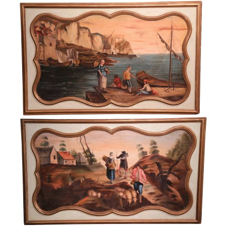Large Pair of 19th Century French Hand Painted Wall Panels with Gilt Accents