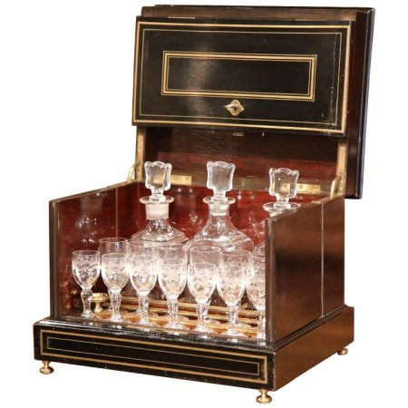 19th Century French Napoleon III Mahogany Cave M_ Liqueur with Bronze Inlay