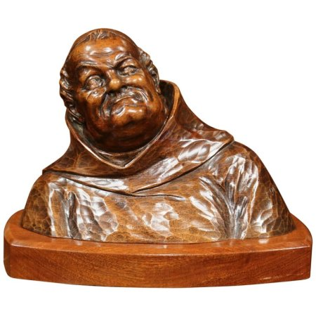 Mid-20th Century French Hand-Carved Walnut Bust of Pensive Monk in Cassock