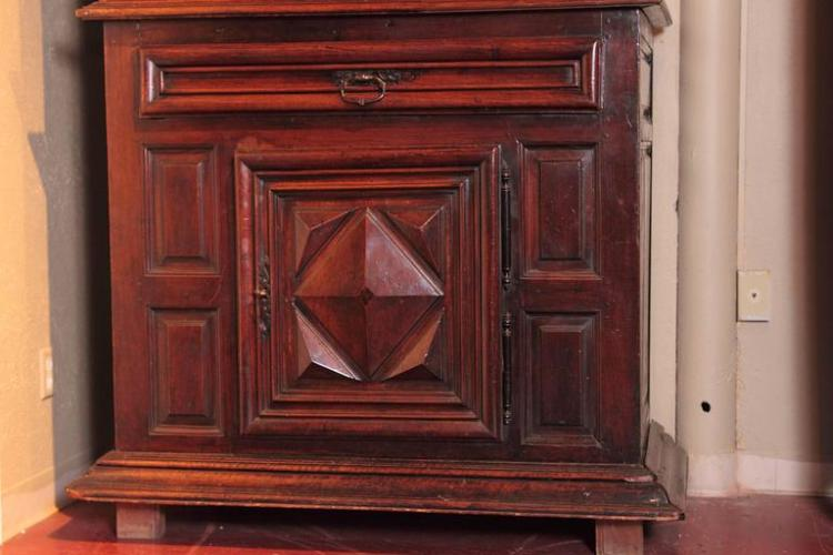 18th Century French Louis XIII Carved Walnut Cabinet with Diamond Shape Designs