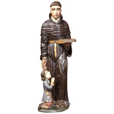 17th Century Italian Carved Polychrome Statue of Saint Nicholas with Youngster