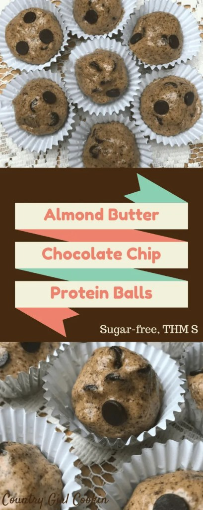 Almond Butter Chocolate Chip Protein Balls (Sugar-free, THM-S)