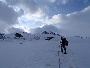 Heading up the Monte Rosa glacier
