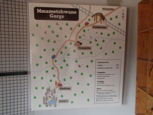 The map at the visitors center to Mogonye Gorge