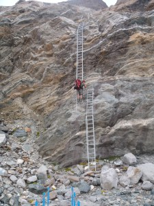 The ladder down onto the glacier