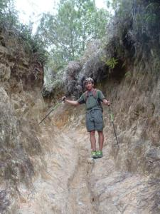 The highly eroded trail