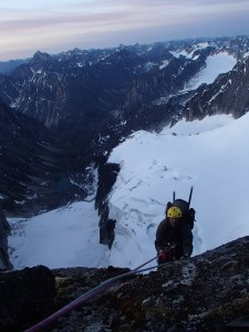 Len cresting the summit ridge shortly after midnight